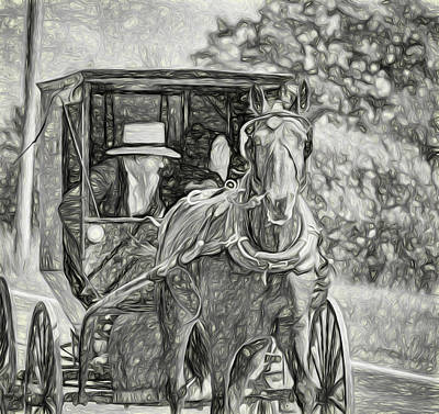 Pennsylvania Amish 2 -  Bw Poster by Steve Harrington