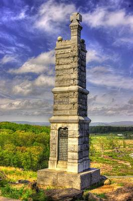 Pennsylvania At Gettysburg - 91st Pa Veteran Volunteer Infantry - Little Round Top Spring Poster by Michael Mazaika
