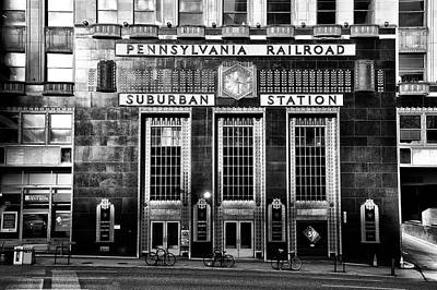 Pennsylvania Railroad Suburban Station In Black And White Poster by Bill Cannon