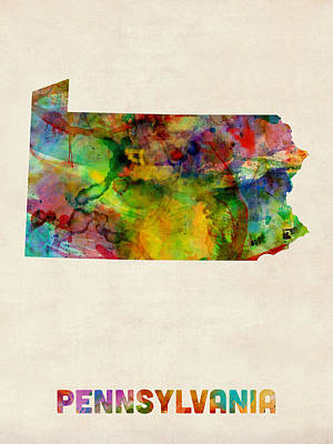 Pennsylvania Watercolor Map Poster by Michael Tompsett