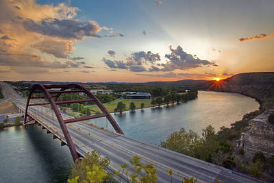 Pennybacker Bridge At Sunset Poster