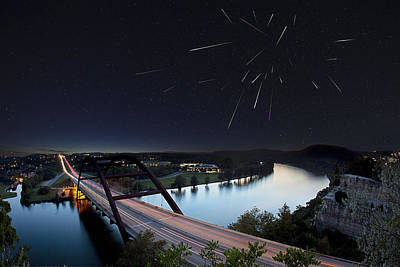 Pennybacker Bridge Austin Texas - Night Of The Meteors Poster