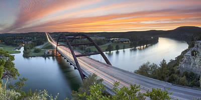 Pennybacker Bridge Panorama Austin Texas 3 Poster by Rob Greebon