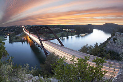Pennybacker Bridge Sunset Near Austin Texas Poster by Rob Greebon