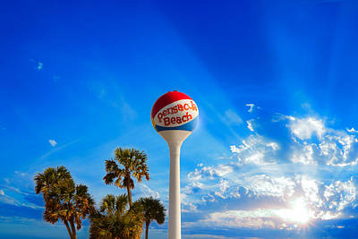 Pensacola Beach Ball Water Tower And Palm Trees Poster