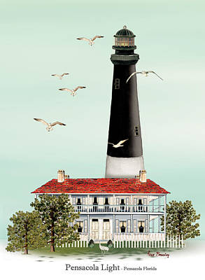 Pensacola Light House Poster by Anne Beverley-Stamps