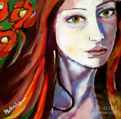 Poster featuring the painting Pensive Lady by Helena Wierzbicki