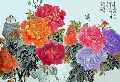 Poster featuring the photograph Peonies And Birds by Yufeng Wang