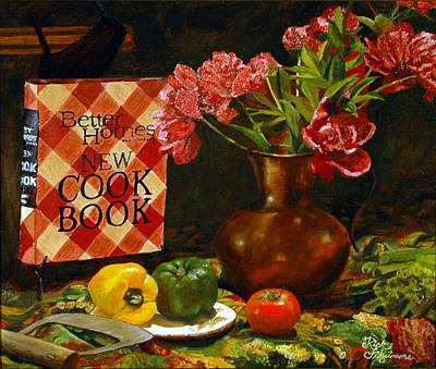 Poster featuring the painting Peonies And Recipes by Rick Fitzsimons