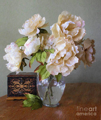 Peonies In Glass Vase Poster