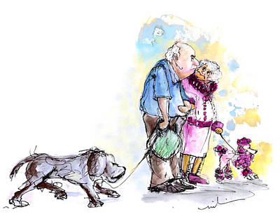 People And Their Dogs 02 Poster by Miki De Goodaboom