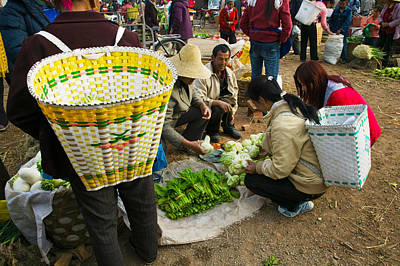 People Buying Vegetables Poster