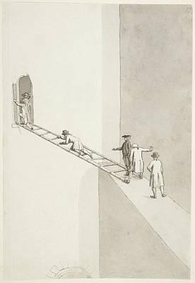 People Climbing Across A Gap Poster
