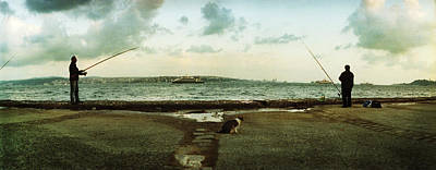 People Fishing In The Bosphorus Strait Poster by Panoramic Images