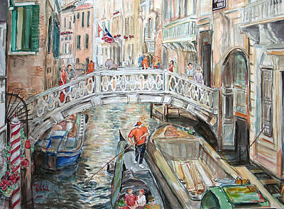 Poster featuring the painting People In Venice by Becky Kim