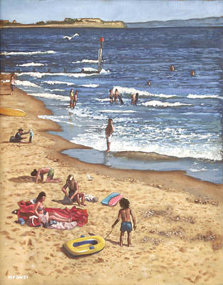 people on Bournemouth beach Blue Sea Poster