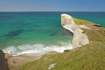 People On Cliff Top At Tunnel Beach Poster