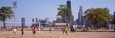 People Playing Beach Volleyball Poster