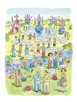 People Share Good News Around A Garden Poster by Roz Chast