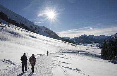 People Walking In Beautiful Sunny Winter Landscape In The Alps With Lots Of Snow Poster