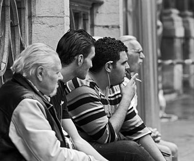 People Watching At Grand Place Poster