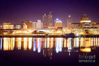 Peoria Illinois At Night Downtown Skyline Poster by Paul Velgos