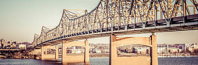 Peoria Illinois Bridge Retro Panorama Photo Poster by Paul Velgos