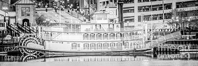 Peoria Riverboat Panoramic Black And White Photo Poster