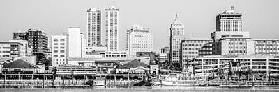Peoria Skyline Panorama Black And White Picture Poster by Paul Velgos