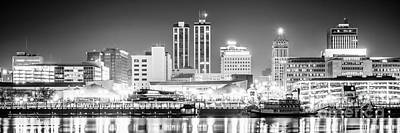 Peoria Skyline Panoramic Black And White Picture Poster by Paul Velgos