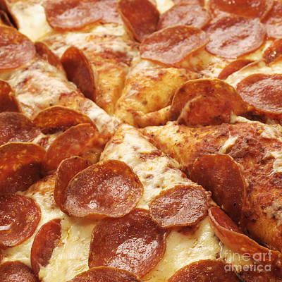 Pepperoni Pizza 25 Square Poster by Andee Design