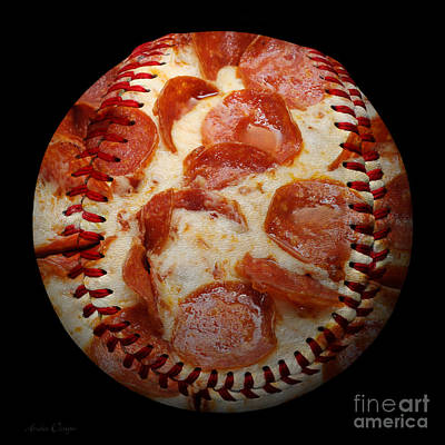 Pepperoni Pizza Baseball Square Poster