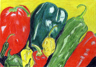 Poster featuring the painting Peppers by Linda Feinberg