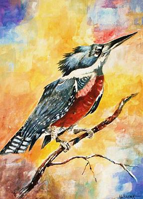 Poster featuring the painting Perched Kingfisher by Al Brown