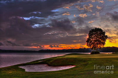 Perfect Golf Sunset In Reynolds Plantation Poster