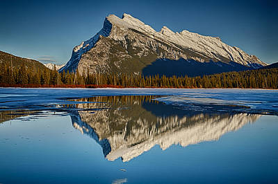 Perfect Reflection Of Rundle Mountain Poster