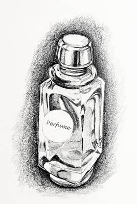 Poster featuring the drawing Perfume Bottle by Vizual Studio