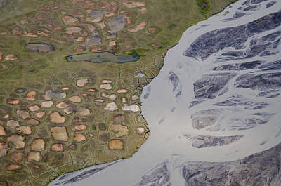 Permafrost Polygons And Braided River Poster by Roger Clifford