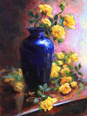 Persian Cobalt - Yellow Roses In Cobalt Vase Poster