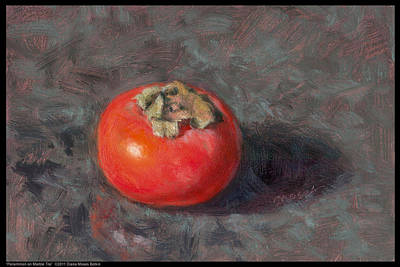Persimmon On Marble Tile Poster