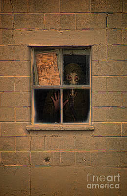 Person In Gas Mask Looking Out Window Poster by Jill Battaglia