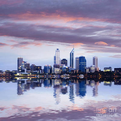 Perth Skyline Reflected In The Swan River Poster by Colin and Linda McKie
