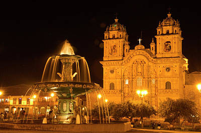 Peru, Cusco, Night View Of Fountain Poster by Jaynes Gallery