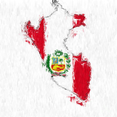 Peru Painted Flag Map Poster