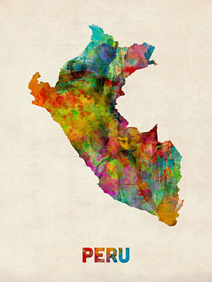 Peru Watercolor Map Poster by Michael Tompsett