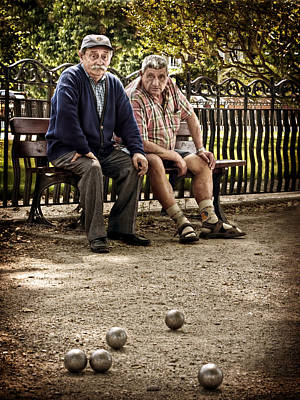 Poster featuring the photograph Petanque Match / Brive La Gaillarde by Barry O Carroll