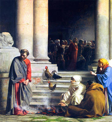 Peters Denial Of Christ Poster by Carl Bloch