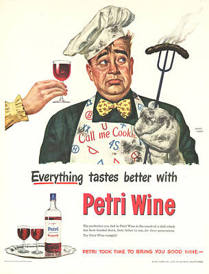 Petri Wine 1940s Usa Cooking  Bbq Poster