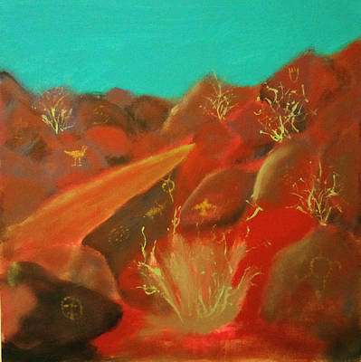 Poster featuring the painting Petroglyph Park by Keith Thue