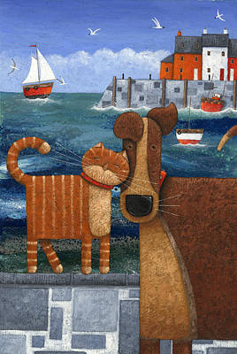 Pets By The Sea Poster by Peter Adderley
